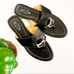 TOD'S Black Leather Sandals With Silver Hardware